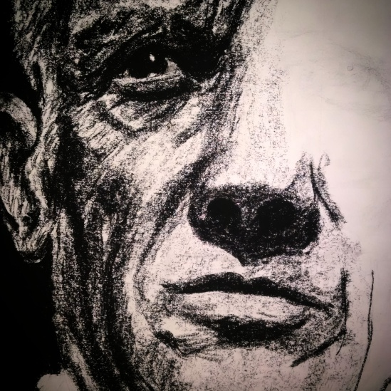 Charcoal portrait of Picasso